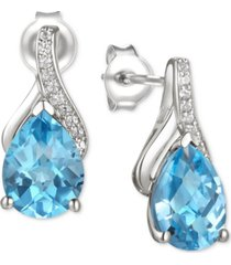 amethyst (2-1/10 ct. t.w.) & diamond accent drop earrings in 14k white gold (also available in blue topaz, mystic topaz, rhodolite garnet, and citrine)