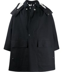 jil sander hooded cape anorak - black