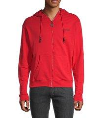 roberto cavalli men's logo-back zip-up hoodie - red - size s