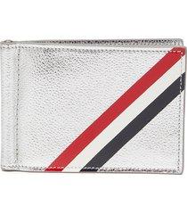 diagonal stripe bifold money clip wallet