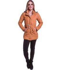jaqueta sobretudo acolchoado capuz removãvel acinturado veludo caramelo - caramelo - feminino - algodã£o - dafiti