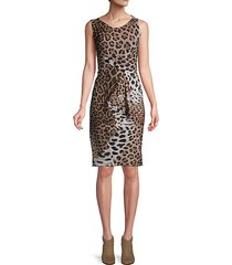 leopard-print sleeveless sheath dress