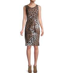 leopard-print sleeveless sheath dress