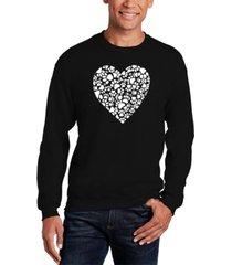 men's paw prints heart word art crewneck sweatshirt