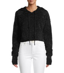 for love & lemons women's fuzzy cropped hoodie - black - size xs