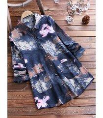camicetta a maniche lunghe in cotone con stampa floreale vintage da donna