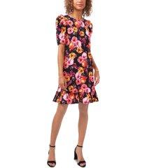 msk printed puff-sleeve flounce-hem dress