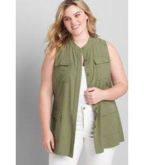 lane bryant women's belted utility vest 26/28p four leaf clover