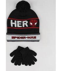 kit infantil de gorro homem aranha com pompom + luva em tricô preta