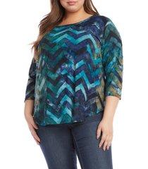 plus size women's karen kane tie dye shirttail three quarter sleeve top, size 0x - blue