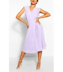 angel sleeve midi skater dress, lilac