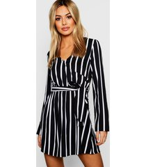 petite black wrap over stripe shift dress, black
