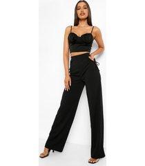 wide leg broek met uitgesneden taille en strik, black