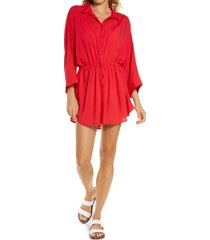 women's l space pacifica cover-up tunic, size medium/large - red