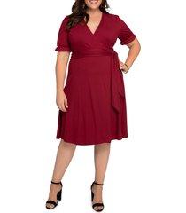 plus size women's kiyonna tuscan floral wrap dress, size 5x - burgundy