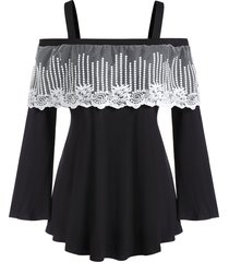 plus size cold shoulder lace insert square collar t shirt
