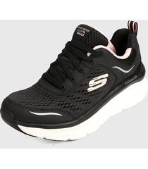 tenis running negro-rosa-blanco skechers relaxed fit