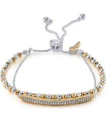 unwritten double strand crystal bar & cross bolo fine plated silver bracelet