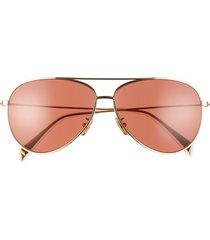 women's celine 61mm aviator sunglasses - gold/ bordeaux