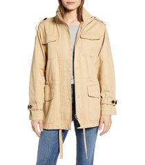 women's derek lam 10 crosby cotton field jacket, size large - brown