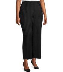 eileen fisher women's plus striped wide-leg pants - black - size 1x (14-16)