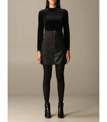armani exchange dress long sleeve velvet with mini studs and eco-leather