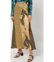 rixo women's parker skirt - gold patchwork leopard mix - l