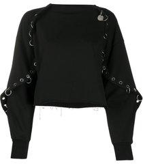 diesel embellished cape-effect sweatshirt - black