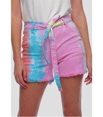 shorts sarja tie dye colorido sob feminina