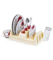 escorredor de pratos de plástico compacto rattan cor creme