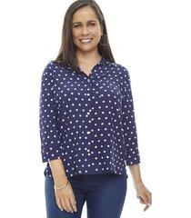 blusa camisera print manga larga rayas navy puntos  corona