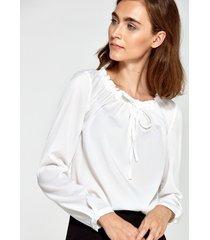 bluzka z marszczonym dekoltem ecru