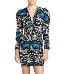 a.l.c. women's roxy v-neck long-sleeve printed dress - black blue - size 2