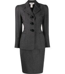 christian dior 1997 pre-owned puffy sleeves skirt suit - grey