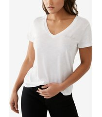 women's crystal caviar short sleeve v neck tee