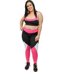 calça corpusfit legging essential plus size - preta e rosa - kanui
