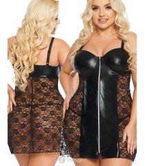 marion,zwart wetlook jurkje met kant