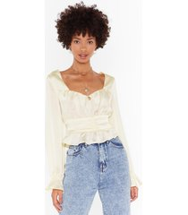 womens everytime we touch satin ruched blouse - champagne