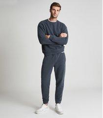 reiss alistar - oversized garment-dye sweatshirt in airforce blue, mens, size xxl