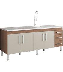 gabinete para cozinha flex 80x194cm amêndoa e off white