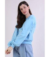 blusão de moletom feminino mindset manga bufante decote redondo azul claro
