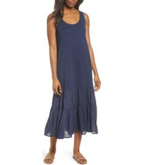 women's caslon mixed media drop waist maxi dress, size x-large - blue