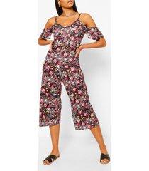 jumpsuit met blote schouder en gemengde print met bloemen en stippen, zwart