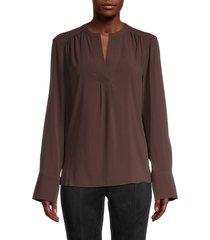 calvin klein women's pleated splitneck blouse - coffee bean - size xs