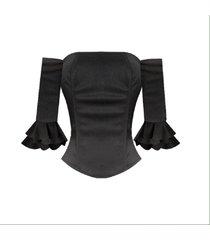 corset de mangas con abertura de amarre – sarab – negro