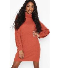 roll neck blouson sleeve sweater dress, chestnut