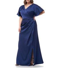 plus size women's js collections faux wrap satin a-line gown, size 18w - blue