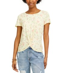 hippie rose juniors' floral-print twisted t-shirt