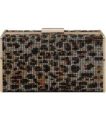 la regale leopard crystal box clutch