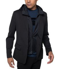 kenneth cole men's classic-fit hybrid blazer with removable hooded bib